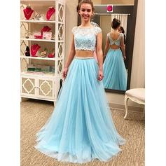 A-Line/Princess Scoop Neck Floor-Length Prom Dresses With Lace Beading (018218114)