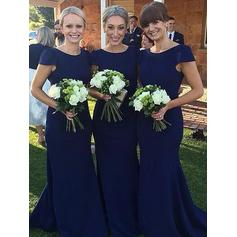 Sheath/Column Satin Bridesmaid Dresses Scoop Neck Short Sleeves Floor-Length (007211726)