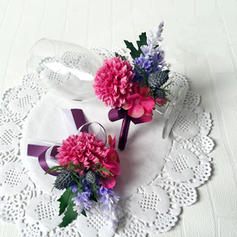 "Flower Sets Wedding/Party Ribbon/Artificial Silk 2.76"" (Approx.7cm) Sold in set of two which includes one wrist corsage and one boutonniere Wedding Flowers"