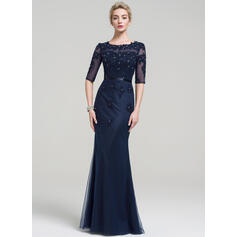 Trumpet/Mermaid Scoop Neck Floor-Length Tulle Lace Evening Dress With Beading Sequins (017093482)
