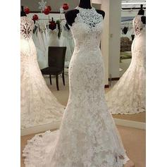 Scoop Trumpet/Mermaid Wedding Dresses Tulle Appliques Lace Sleeveless Sweep Train