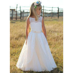 Elegant Scoop Neck A-Line/Princess Flower Girl Dresses Floor-length Tulle/Lace Sleeveless
