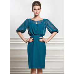 Sheath/Column Chiffon 1/2 Sleeves Scoop Neck Knee-Length Zipper Up Covered Button Mother of the Bride Dresses (008056829)