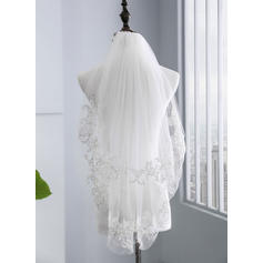 Elbow Bridal Veils Tulle Two-tier With Lace Applique Edge With Lace Wedding Veils