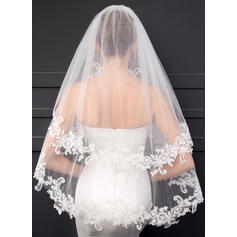 Elbow Bridal Veils Two-tier Classic With Lace Applique Edge With Lace Wedding Veils
