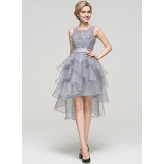 A-Line Square Neckline Asymmetrical Organza Cocktail Dress With Beading