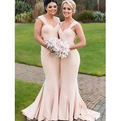 Trumpet/Mermaid Sweetheart Floor-Length Bridesmaid Dresses With Ruffle (007211588)