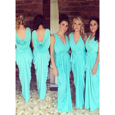 Sheath/Column Jersey Bridesmaid Dresses Ruffle Bow(s) V-neck Sleeveless Floor-Length (007145038)