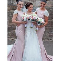 Trumpet/Mermaid Scoop Neck Sweep Train Stretch Crepe Bridesmaid Dresses With Beading