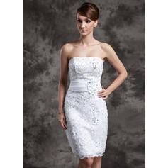 Sexy Strapless Sheath/Column Wedding Dresses Knee-Length Satin Organza Lace Sleeveless (002211377)