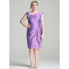 Sheath/Column Taffeta Sleeveless Off-the-Shoulder Knee-Length Zipper Up Mother of the Bride Dresses