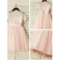 A-Line/Princess Scoop Neck Knee-length With Lace Tulle/Lace Flower Girl Dresses (010211938)