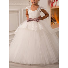 Ball Gown Sweetheart Floor-length With Sash/Bow(s) Tulle Flower Girl Dresses (010211757)