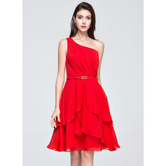 A-Line/Princess One-Shoulder Knee-Length Chiffon Homecoming Dress With Ruffle Crystal Brooch Cascading Ruffles (022072247)