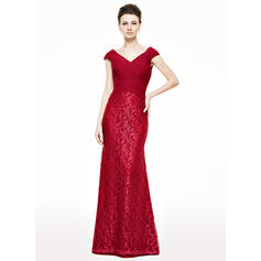 Trumpet/Mermaid Chiffon Lace Sleeveless V-neck Floor-Length Zipper Up Mother of the Bride Dresses
