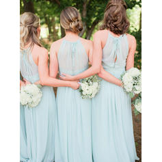 A-Line/Princess Chiffon Bridesmaid Dresses Ruffle Bow(s) Scoop Neck Sleeveless Floor-Length