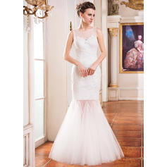 Simple Scoop Trumpet/Mermaid Wedding Dresses Floor-Length Tulle Lace Sleeveless (002210554)