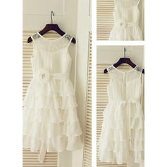 A-Line/Princess Scoop Neck Tea-length With Ruffles/Sash Chiffon Flower Girl Dresses