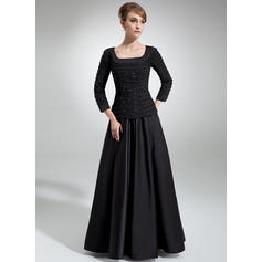 A-Line/Princess Chiffon Satin 3/4 Sleeves Square Neckline Floor-Length Zipper Up Mother of the Bride Dresses (008006314)