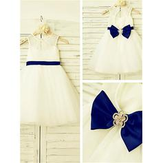 A-Line/Princess Scoop Neck Tea-length With Bow(s) Tulle/Lace Flower Girl Dresses