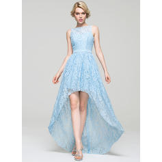 A-Line/Princess Scoop Neck Asymmetrical Lace Homecoming Dresses