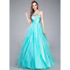 Ball-Gown Sweetheart Floor-Length Prom Dresses With Beading Sequins Cascading Ruffles (018042716)