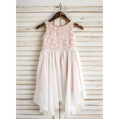 A-Line/Princess Scoop Neck Knee-length Chiffon/Lace Sleeveless Flower Girl Dresses