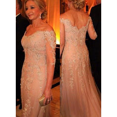 Trumpet/Mermaid Tulle Lace 3/4 Sleeves Off-the-Shoulder Sweep Train Zipper Up Mother of the Bride Dresses