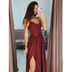 A-Line/Princess V-neck Floor-Length Prom Dresses With Appliques Split Front