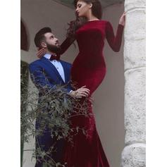 Trumpet/Mermaid Scoop Neck Floor-Length Velvet Evening Dresses