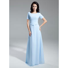 A-Line/Princess Chiffon Short Sleeves Scoop Neck Floor-Length Zipper Up Mother of the Bride Dresses (008211372)