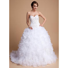 Ball-Gown Sweetheart Chapel Train Wedding Dresses With Beading Sequins Cascading Ruffles