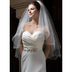 Fingertip Bridal Veils Tulle Two-tier Angel cut/Waterfall With Scalloped Edge Wedding Veils
