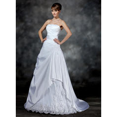 Newest Strapless A-Line/Princess Wedding Dresses Court Train Satin Sleeveless