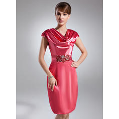 Sheath/Column Cowl Neck Knee-Length Charmeuse Cocktail Dresses With Ruffle Beading