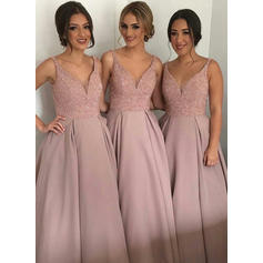 A-Line/Princess Satin Bridesmaid Dresses Beading Sequins V-neck Sleeveless Asymmetrical