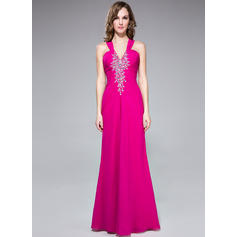 Trumpet/Mermaid V-neck Floor-Length Evening Dresses With Ruffle Beading (017201287)