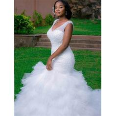 Trumpet/Mermaid Organza Sleeveless V-neck Cathedral Train Wedding Dresses