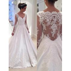 Ball-Gown Satin Lace Long Sleeves V-neck Court Train Wedding Dresses