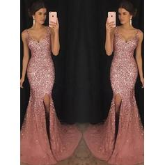 Sheath/Column Sweetheart Sweep Train Prom Dresses With Sequins Split Front