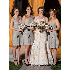 A-Line/Princess Lace Bridesmaid Dresses Cascading Ruffles V-neck Sleeveless Knee-Length