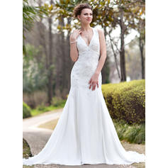Chic Halter Trumpet/Mermaid Wedding Dresses Chapel Train Chiffon Sleeveless (002211304)