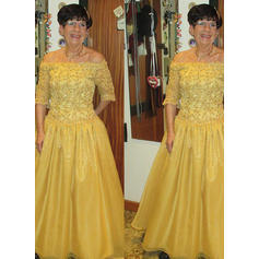 A-Line/Princess Taffeta 1/2 Sleeves Off-the-Shoulder Floor-Length Zipper Up Mother of the Bride Dresses