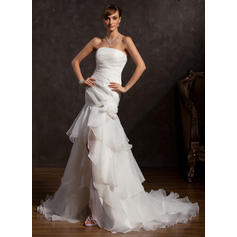 Sexy Strapless Trumpet/Mermaid Wedding Dresses Asymmetrical Organza Sleeveless (002211391)