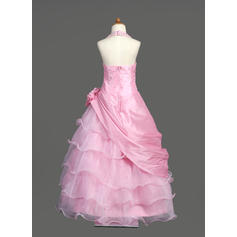 pink flower girl dresses long