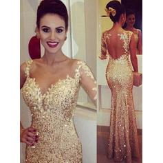 Trumpet/Mermaid Floor-Length Prom Dresses Scoop Neck Sequined Long Sleeves