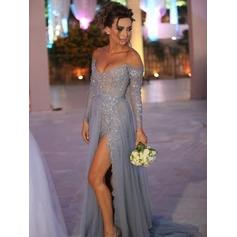 A-Line/Princess Off-the-Shoulder Sweep Train Prom Dresses With Appliques Lace Split Front