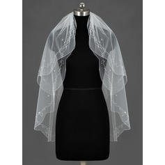 Fingertip Bridal Veils Tulle Two-tier Classic/Oval With Beaded Edge Wedding Veils