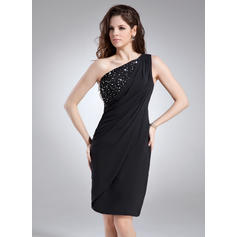 Sheath/Column One-Shoulder Knee-Length Chiffon Cocktail Dresses With Ruffle Beading (016021233)