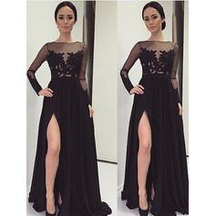 A-Line/Princess Chiffon Prom Dresses Lace Long Sleeves Floor-Length (018210236)
